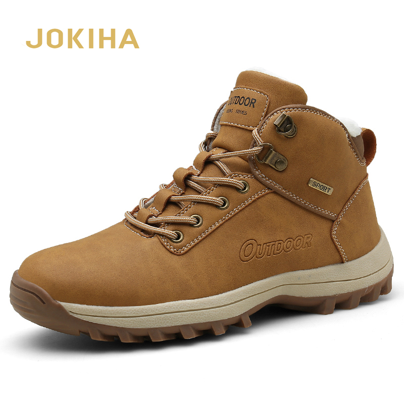 Winter Warm Snow Boots Men Waterproof Snow Shoes Man PU Leather Men's Ankle Boots Plush High Cut Casual Tooling Shoes 2019 Botas