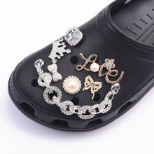 1PCS JIBZ Shoe Croc  Charms Metal pearl Button Shoes Decorations  Accessories For Wristbands Kids Girl  Women Party