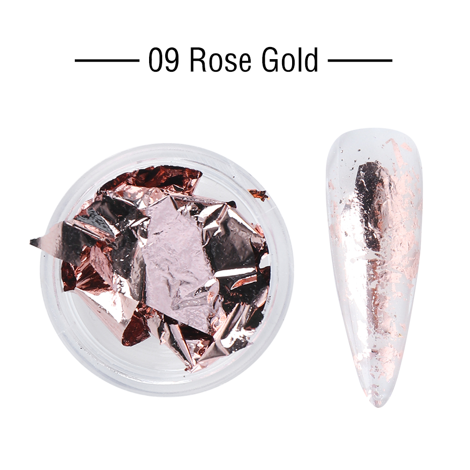1 Box Gold Glitter Flakes Irregular Aluminum Foil Sequins For Nails Chrome Powder Winter Manicure Nail Art Decorations LY1858-1 21