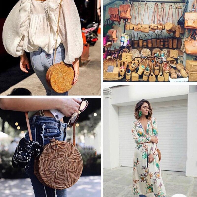 Straw Beach Bag Handmade Woven Round Rattan Bag With Braid Pattern Women Summer Bali Bohemia Shoulder