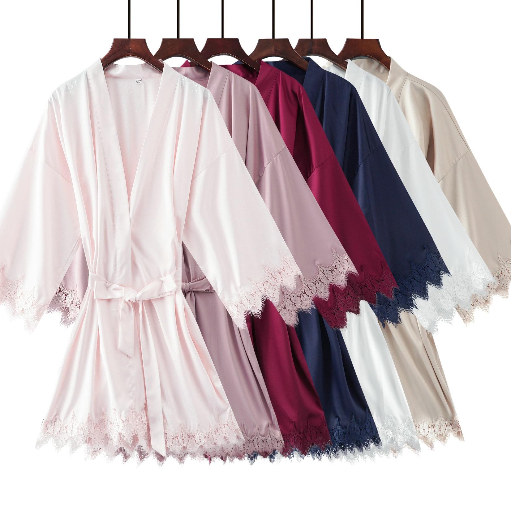 2019 Matt Satin Lace Robe with Trim Gown Bridal Wedding Bride Robes Bridesmaid Kimono Robe Plus Size Women Bathrobe Dress Gown-in Robes from Underwear & Sleepwears