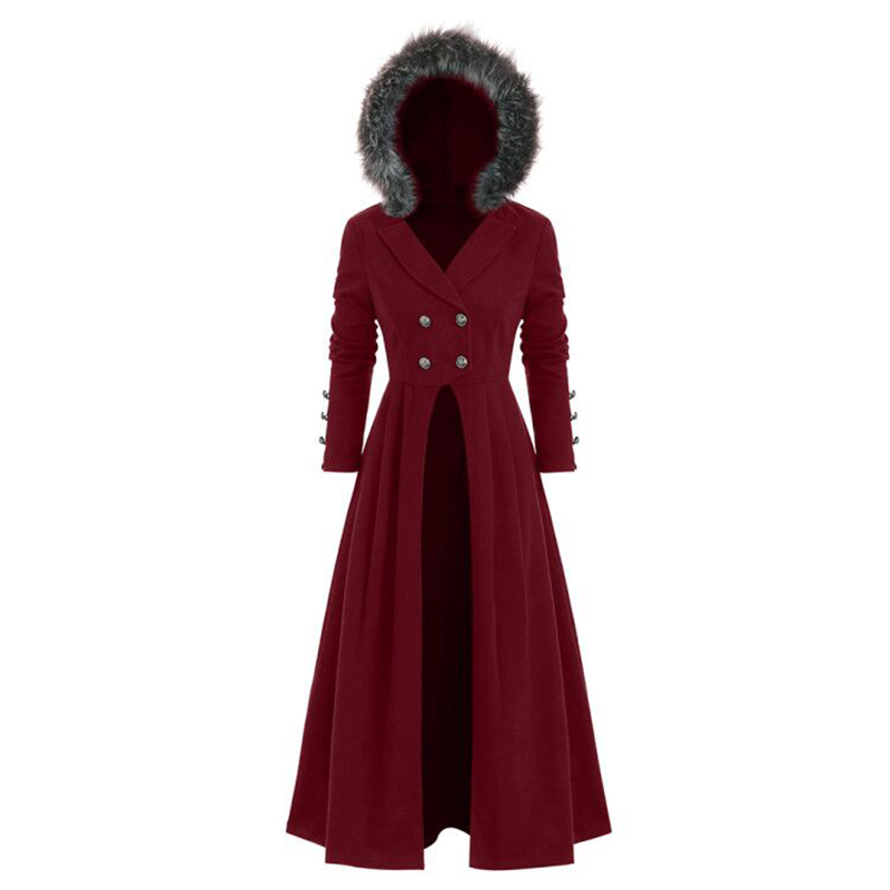 Women's Gothic Fur Hooded Punk Coat Vintage Medieval Cosplsy Stage Costume Ladies Fashion Casual Coats