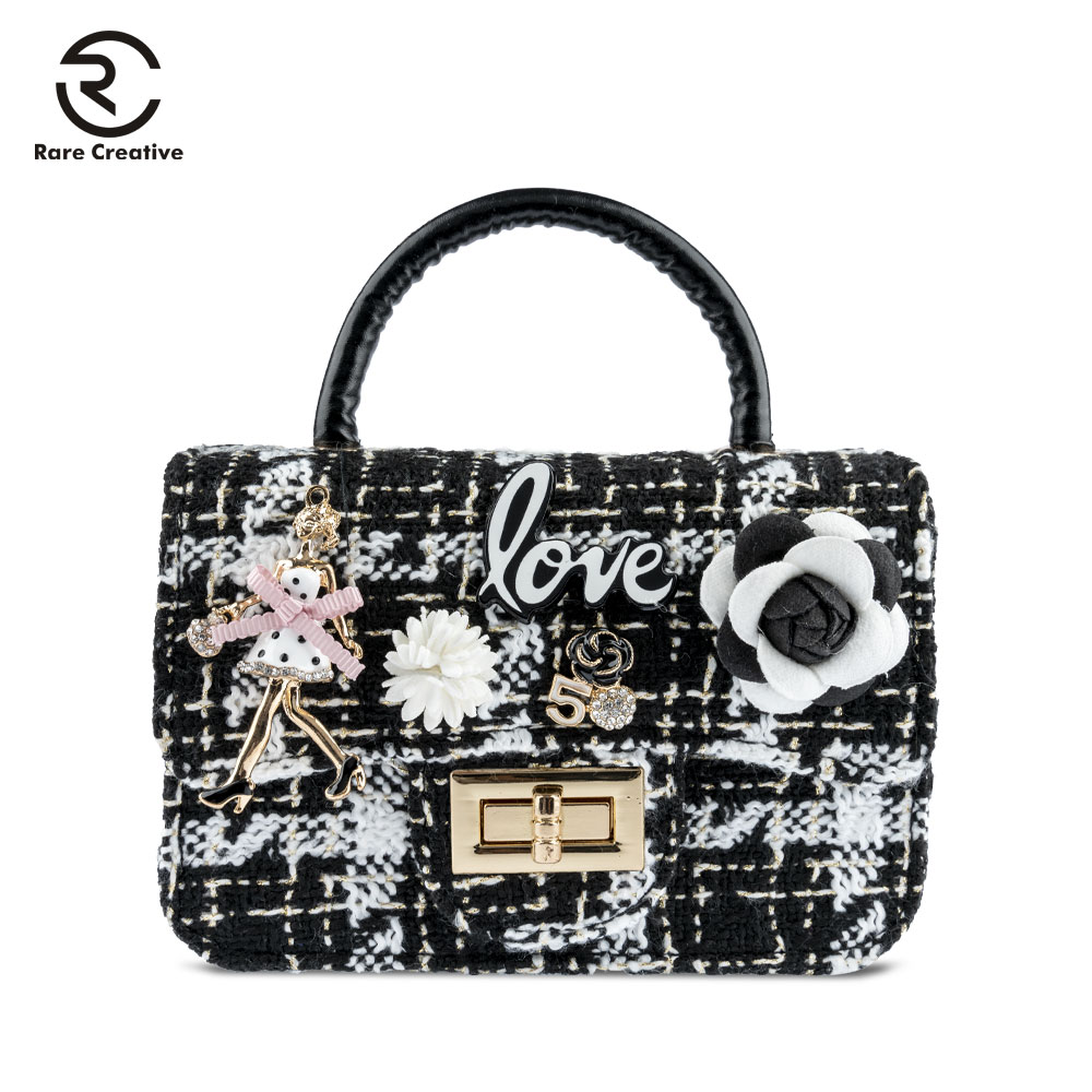 RARE CREATIVE Fashion Lock Quilted Bags Princess Small Bags For Girls Top-handle Children's Handbags Casual Bags Designer HM6009