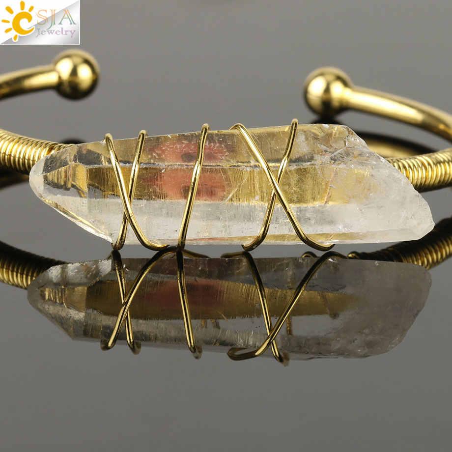 CSJA 天然石クリア水晶腕輪オープンカフブレスレットワイヤーラップ不規則なクリスタルストーン銅バングル女性ジュエリー G168