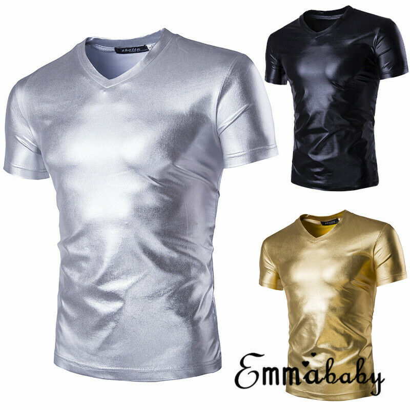 New Arrival Solid Fashion Men Short Sleeve T Shirt Slim Fit Casual Tops Summer Clothing Shining Tee Tops Black Gold Silver