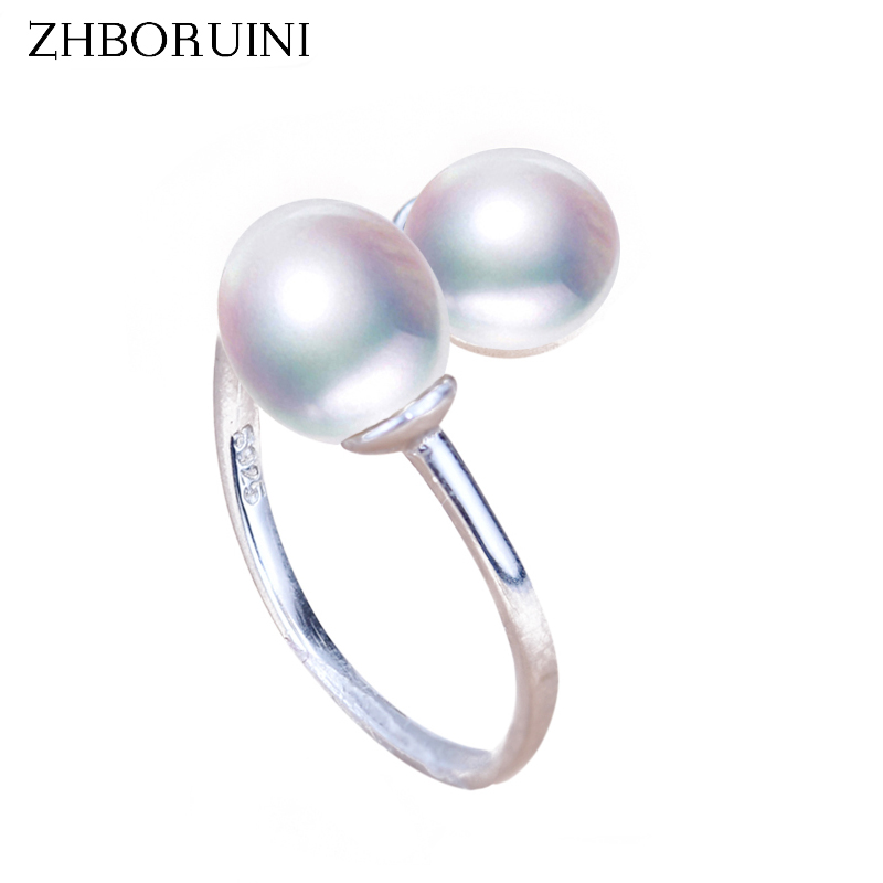ZHBORUINI Fine Jewelry Pearl Ring Jewelry Double Faced Rings Natural Freshwater Pearl 925 Sterling Silver Jewelry For Women Gift