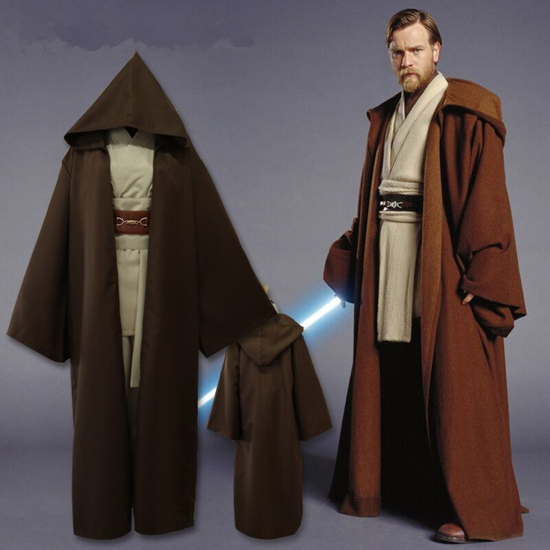 Star Wars Anakin Skywalker Jedi Knight Cosplay Costume Obi Wan Kenobi Shirt+Pants+Belt+Shoulder Strap+Cloak Party Halloween Suit