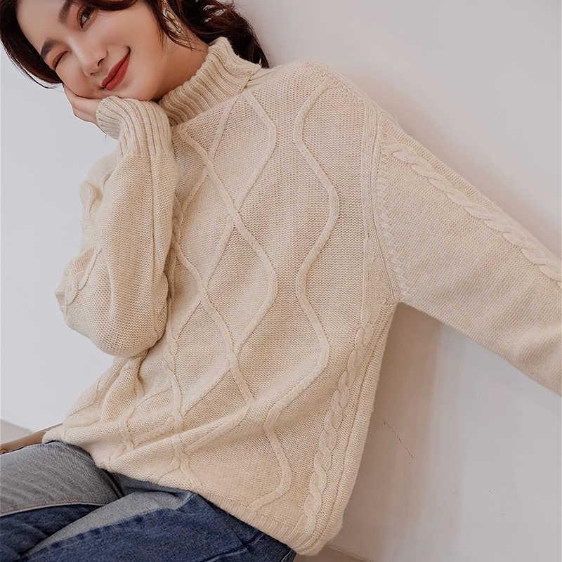 Untuk Wanita, 100% Cashmere dan Wol Rajutan Sweater untuk Wanita 2019 Turtleneck 4 Warna Tebal Pullovers Pakaian