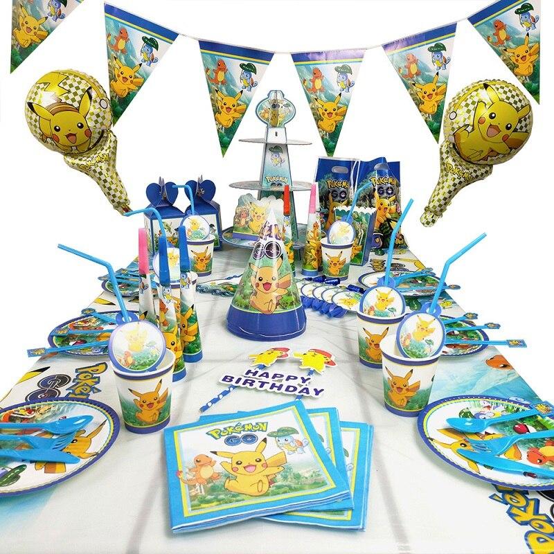 pokemon-fete-d'anniversaire-decoration-pikachu-fete-theme-diner-assiette-nappe-pop-corn-tasse-paille-enfants-fete-d'anniversaire-fournitures