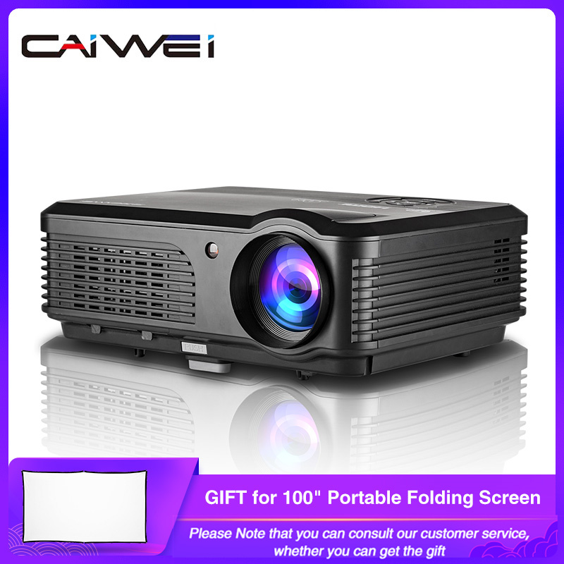 CAIWEI A6/A6AB 1080p Proiettore Full HD Proiettore Home Theater di Smart Android WiFi LCD LED Video Beamer Per smartphone Proyector title=