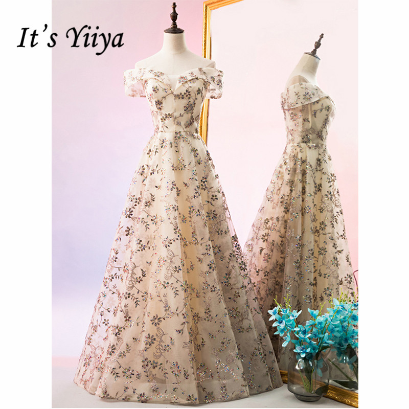 It's Yiiya Evening Dress 2019 Floral Print Off Shouder Boat Neck A-Line Dresses Crystal Women Party Elegant Long Dresess E1021