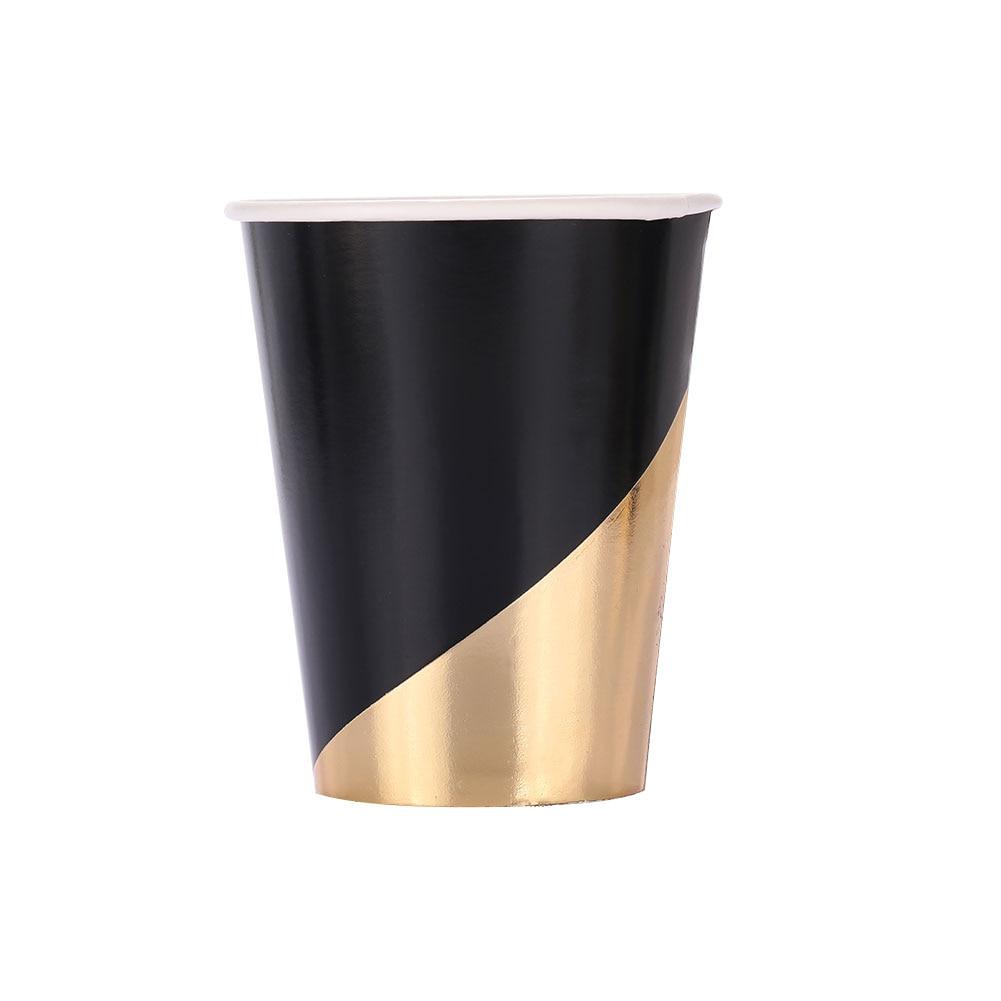 Одноразовая Золотая штамповка Черная бумажная посуда тарелки& чашки& полотенца одноразовые