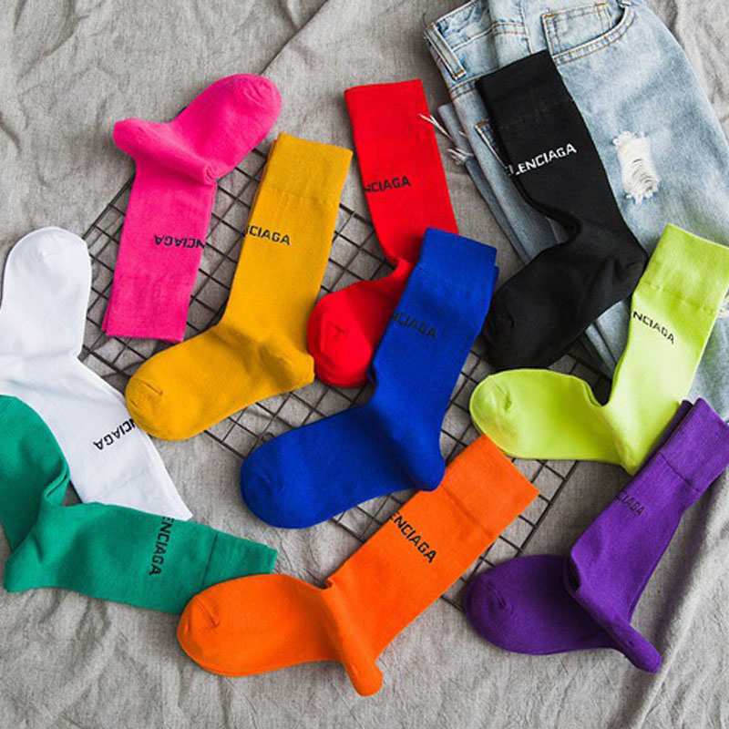 Letter Embroidery Cotton Harajuku Women Socks Candy Solid Colors Girls Long Socks Japanese College Style Girls High Socks