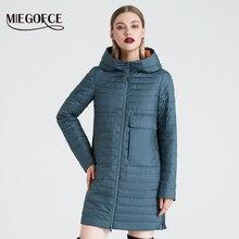 MIEGOFCE 2020 ilkbahar ve sonbahar kadın kapşonlu ceket kadın moda rüzgar geçirmez ceket büyük cepler uzun pamuk Parka