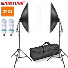 купить SAMTIAN photo studio kit Softbox with 2M tripod gift 2 PCS E27 bulbs 85W for photography Lighting Portrait shooting Soft box по цене 3581.56 рублей