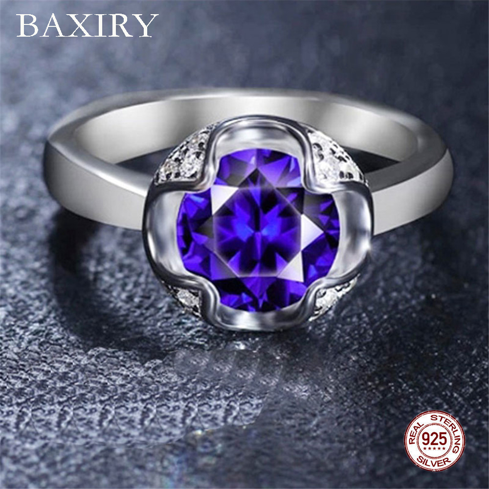 Trendy Gemstones Silver Ring Amethyst Blue Sapphire Ring Engagement Cocktaill Rings Silver 925 Jewelry Aquamarine Ring For Women