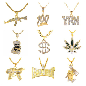 Free Fan 2019 Hip Hop Jewelry Women Men Gold Long Chain Necklaces Unisex Hiphop Bling Gun Dollar Leaf Pendant Necklace Gift(China)