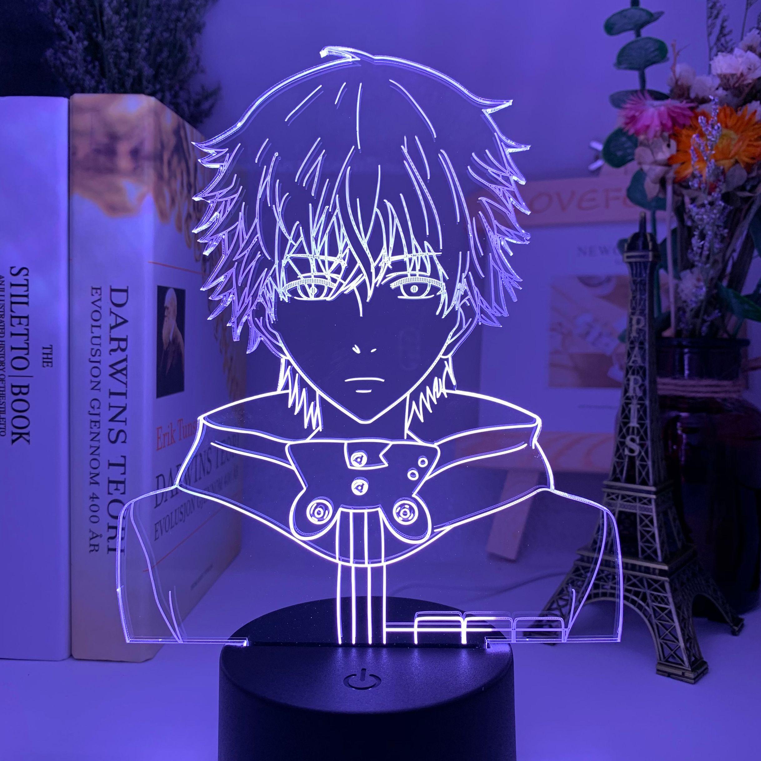 H5d4de49d813948b3adfc8b057b18ab804 Luminária Anime 3d led night light tokyo ghoul ken kaneki rosto nightlight para sala de leitura decoração luz anime presente para lâmpada mesa aniversário usb