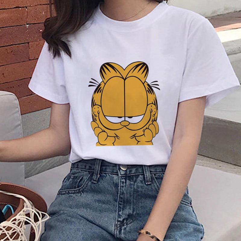 New Cartoon Garfield Print Harajuku T-shirt Women's O-neck Casual T-shirt Top Cute Cat Short-sleeved Women's Shirt Femme Tumblr