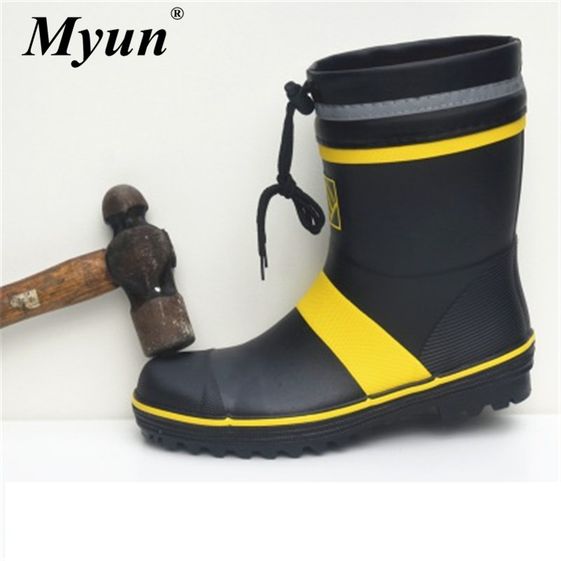 Men Outdoor Rubber Fishing Hunting Boots Steel Toe Steel Sole Safety Work Rain Boots Anti-stabbing And Anti-smashing Gumboots