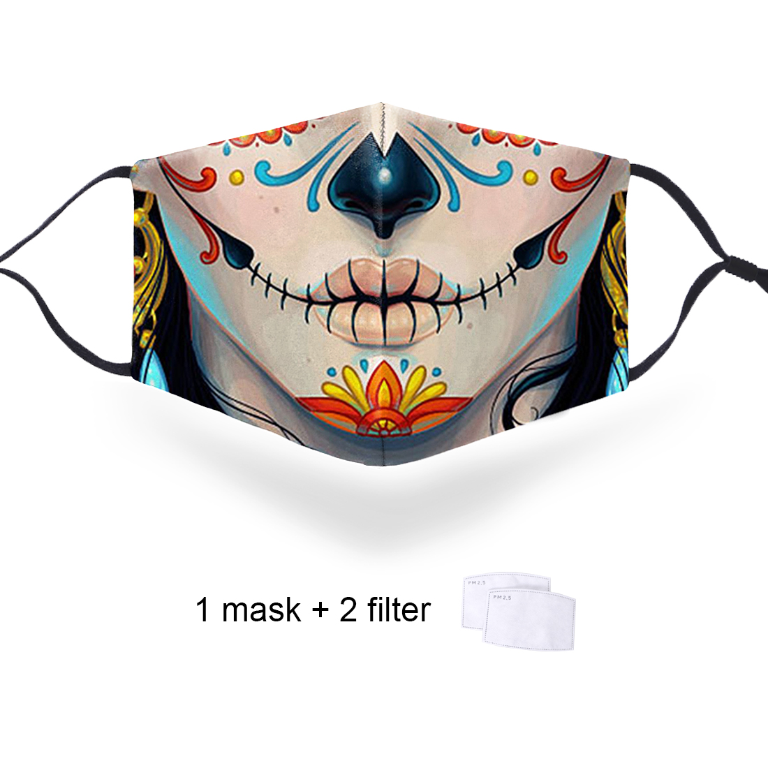 Indian Women Funny Print Anti Dust Mask PM2.5 Filters Washable Face Masks Men Mouth-muffle Bacteria Mask Mexican Death Festival