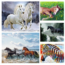 Diamond Painting Horse Full Square Diamond Embroidery Animals Picture 5D Diy Mosaic Rhinestone Cube Home Decoration 5d diy full square round diamond horse landscape handmade diamond embroidery animal mosaic rhinestone picture decoration