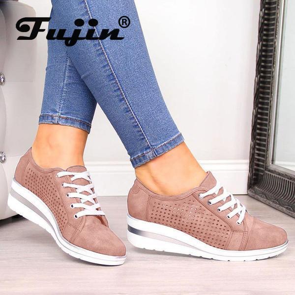 Fujin Casual-Shoes Woman Rhinestone Female Ladies Fashion Slope Fall Heel