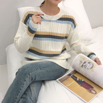 Ailegogo New 2020 Spring Winter Women Sweater Knitting Loose Fashionable Korean Style Pullovers Striped Casual Tops SW1359 1