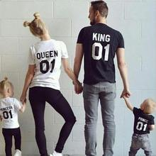 Family Matching Clothes Outfits Look Father Mother Daughter Son Crown T-shirt Clothing Dresses King Queen Princess Prince 2019(China)