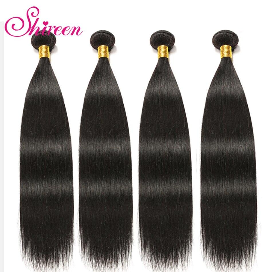 Straight Hair Bundles Brazilian Hair Weave Bundles Human Hair Bundles 4Bundles Non Remy Hair Extensions Natural Black Shireen