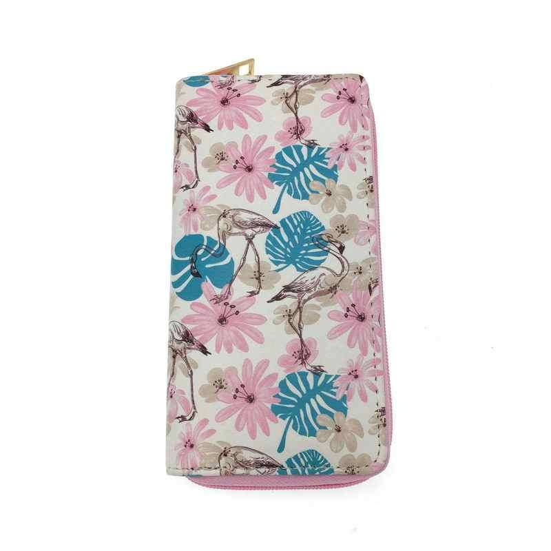 KANDRA Floral und Flamingo Print Frauen Lange Brieftaschen PU Leder Telefon Tasche Zipper Clutch Geldbörse Weibliche Geldbörsen Karte Halter