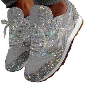 Image 5 - Kadın gündelik ayakkabı moda nefes kristal Sequins Lace Up düşük üst yuvarlak kadın koşu ayakkabıları Bling Scarpe Donna