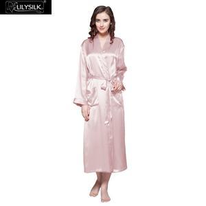 Image 1 - LILYSILK Womens Silk Robe Classic Full Length Long 22 Momme Pure Silk