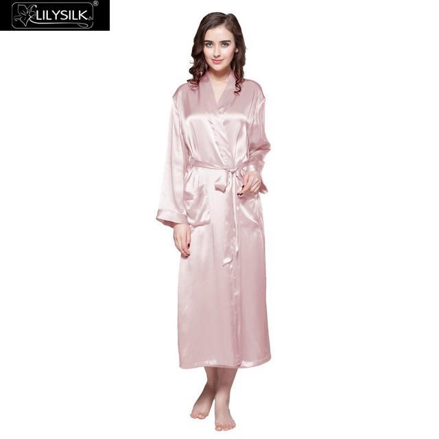 LILYSILK Womens Silk Robe Classic Full Length Long 22 Momme Pure Silk