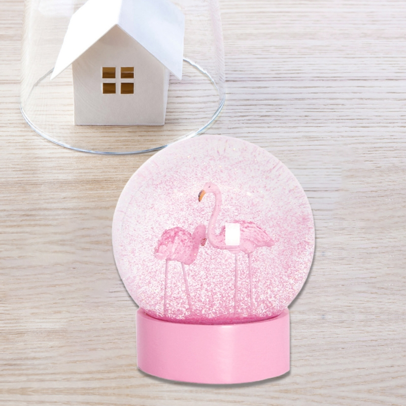 Flamingo Glitter Clear Glass Snow Globe Crystal Ball with Pink Base Women Gifts