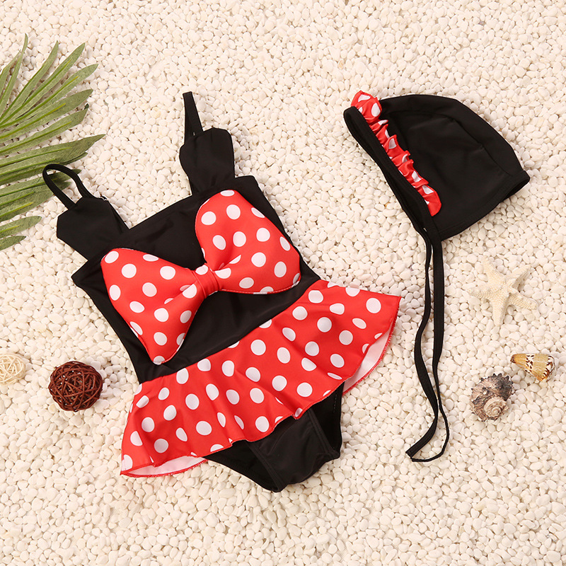 One-piece Swimsuit For Children Mickey Cartoon Hat Tour Bathing Suit Cute Bow Dress-Triangular Swimming Suit