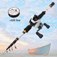 1.8M 2.1M 2.4M 2.7M white Casting Rod and Casting Reel set carbon lure  fishing rod Lure Weight 7-28g M power Travel Tackle