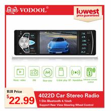 4022D samochodowe stereo radio odtwarzacz 1 Din radio samochodowe Bluetooth 4 1 Auto obsługa radia widok z tyłu kamery sterowania na kierownicy tanie tanio VODOOL 547g W desce rozdzielczej Tuner radiowy Angielski 87 5~108MHz 12 v 210*80*162mm 854*480 car radio car stereo auto radio