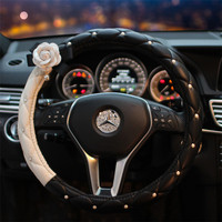 South Korea Style Car Diamond Set Pearl Steering Wheel Cover Four Seasons Camellia Black And White Cool Hide Substance Steering