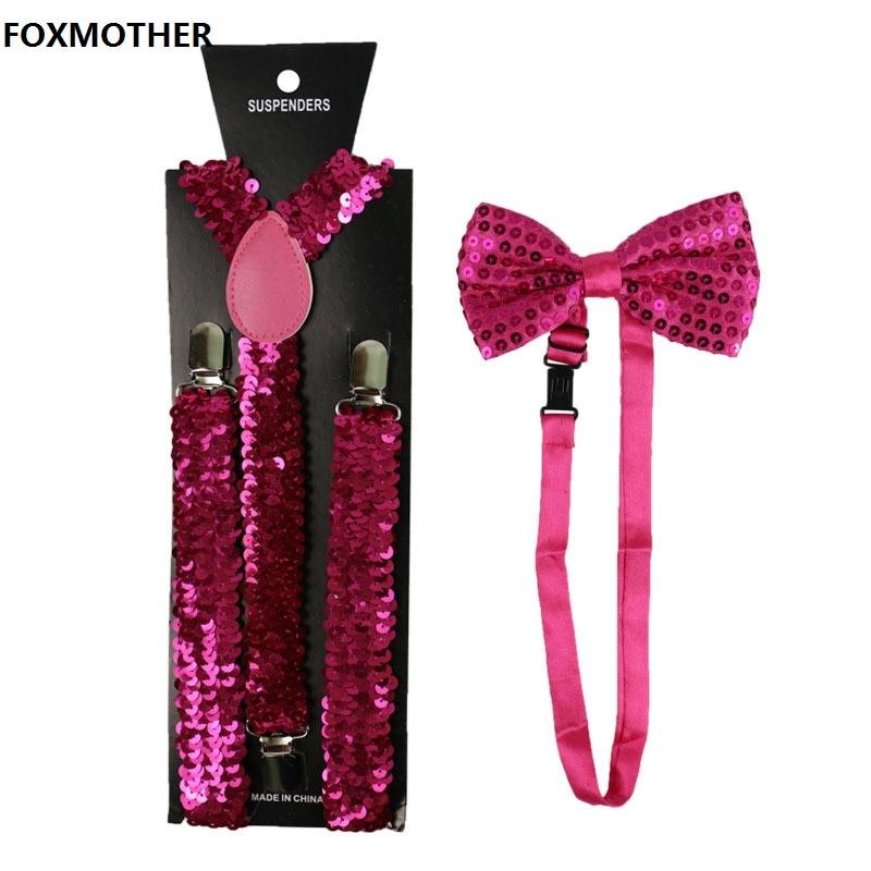 FOXMOTHER Fashion Small Sequin Gold Silver Suspenders Bowtie Set Elastic Braces Suspenders For Women Men