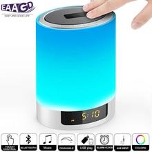 Ночной светильник s беспроводной Bluetooth динамик с будильником, сенсорный светодиодный прикроватный светильник Ruoi+ затемняемый теплый светильник и изменение цвета