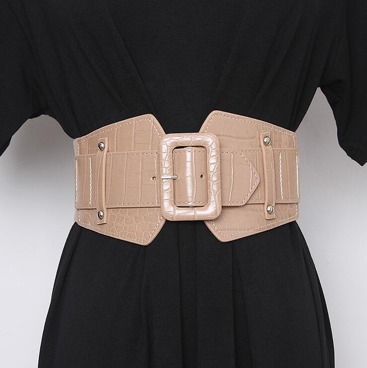 Women's Runway Fashion Pu Leather Elastic Cummerbunds Female Dress Corsets Waistband Belts Decoration Wide Belt R2466