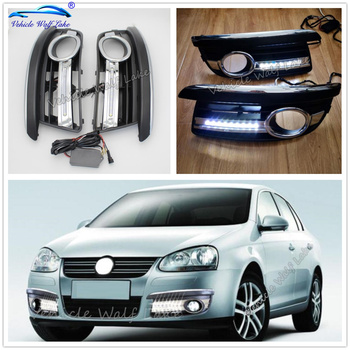 For VW Jetta 5 A5 Mk5 2006 2007 2008 2008 2010 2011 Front Fog Lamp Covers Bezel Led DRL Daytime Running Lights With Wire Harness