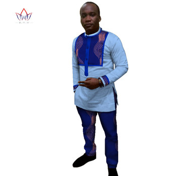 Africa Style 2020 Customized Pants Suits for Men Dashiki Plus Size Denim Men Suit Fashion Traditional African Clothing WYN366