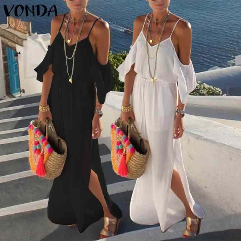 VONDA uzun Maxi elbise 2020 yaz seksi V boyun parti Maxi uzun elbise plaj rahat gevşek Vestidos artı boyutu yaz Sundress femme