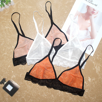Sexy Lace Bra Transparent bralette top Breathable Comfortable gauze mesh thin Bras see through Bra Lingerie For Women see through mesh lace bra panty set milf