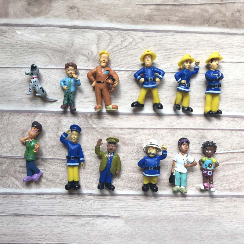 12Pcs/Set Fireman Sam Figures PVC Figures Doll  Cartoon Fireman Model Dolls Toys For Kids Gift