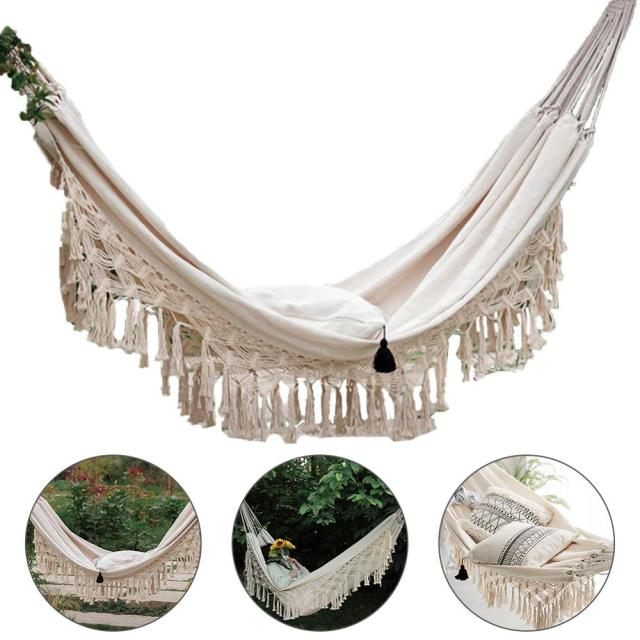 ins Style 2 Person Hammock Large Brazilian Macrame Fringe Double Deluxe Hammock Swing Net Chair Outdoor Indoor Hanging Deco 6