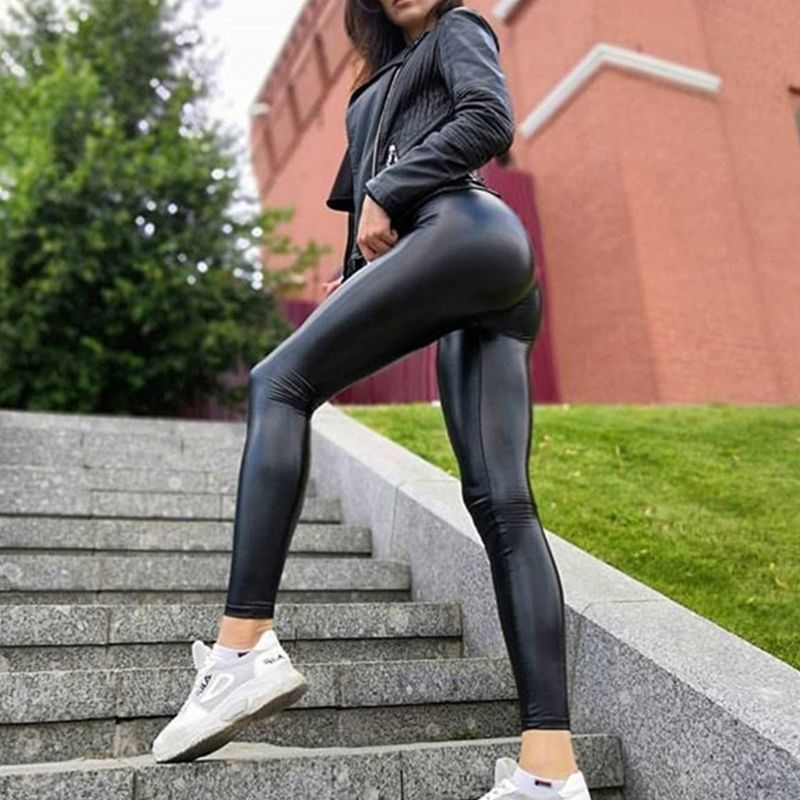 Legging dropshipping Women Hot <font><b>Sexy</b></font> Black Wet Look Faux <font><b>Leather</b></font> Leggings Slim Shiny Pants Plus size S M L XL 2XL 3XL <font><b>4XL</b></font> 5XL image