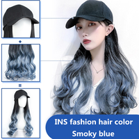 New Fashion Baseball Cap for Women Wig Female Long Curly Hair Big Wave Hat With Wig Free Shipping